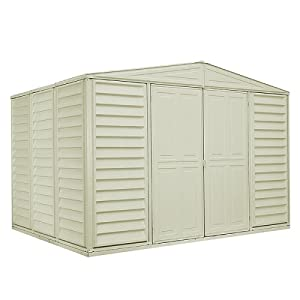 Click to buy DuraMax Model 10x8 WoodBridge Vinyl Storage Shed from Amazon!