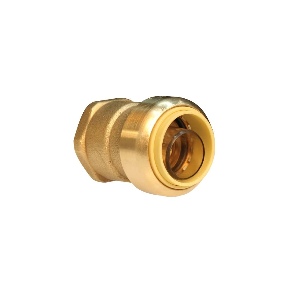 Push Connect PC842F 1/2 Inch Push by 3/4 Inch FNPT, Brass Push Fit Straight Female Coupling