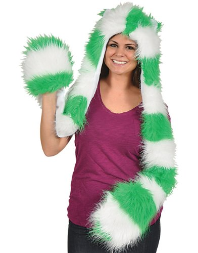 Womens Adults Green White Furry Monster Scarf Hoodie St Patricks Day