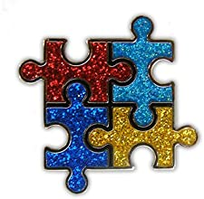 Glitzy Autism Puzzle Ball Marker with Magnetic Hat Clip