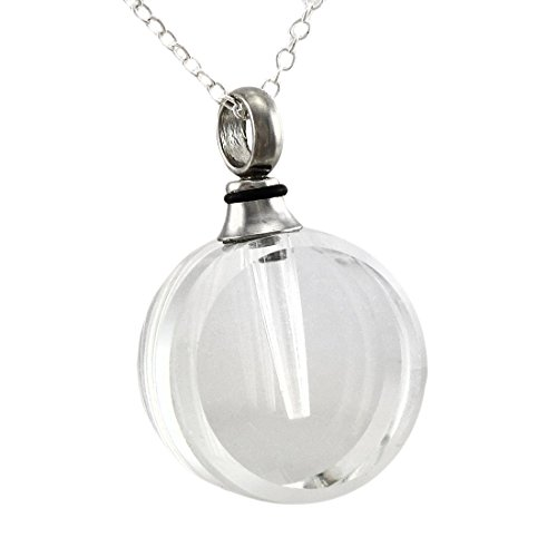 Round Clear Crystal Vial Keepsake Necklace (Crystal Vial compare prices)