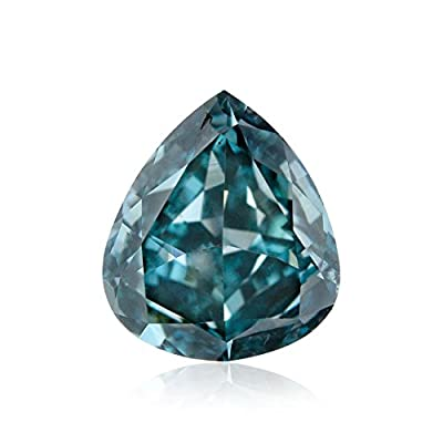 0.55Cts Fancy Deep Blue Green Loose Diamond Natural Color Pear GIA Untreated