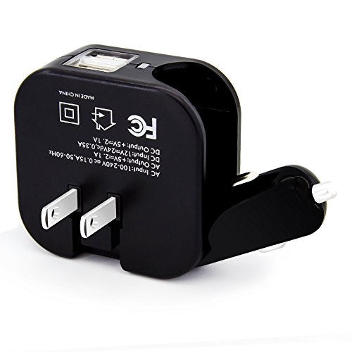 Elepower Portable Travel Charger with Foldable AC Wall / DC Car Plug and Dual Smart USB 2.1A in Total Output Car Charger for iPhone 6S/6S Plus Samsung Galaxy Google Nexus LG HTC and More-Black (Car Usb Plug compare prices)