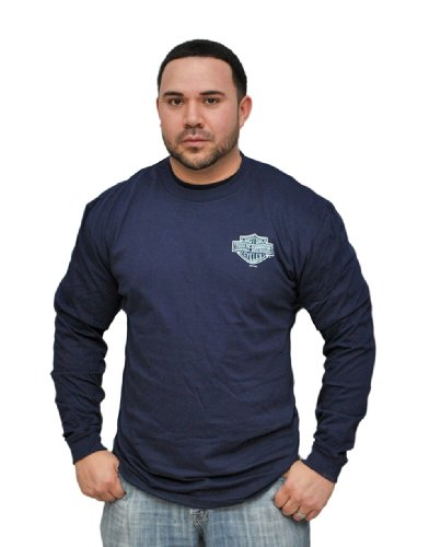 Harley-Davidson Mens Small Blue B&S with Willie G Skull Back Navy Long Sleeve T-Shirt (Large)