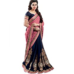 Shubhkari Fashion Pink & Blue Viscose Women's Fancy Saree With Blouse(SF_1018_NAVRATRI_SPECIAL)