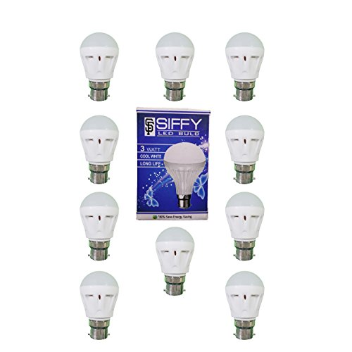 Siffy 3W B22 LED Bulb (White, Pack Of 10)