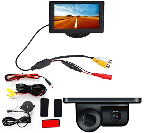 2 in 1 LCD Display Indicator Sound Alarm Car Reverse Parking Sensor camera with CCD LED Night Vision For All Cars