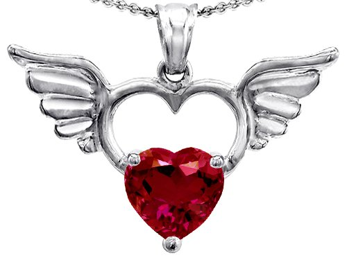 Original Star K(tm) Wings Of Love Birthstone Pendant with 8mm Heart Shape Created Ruby in .925 Sterling Silver