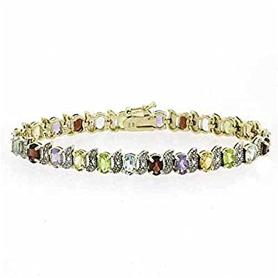 18K Gold over Stelring Silver 11.87ct. TGW Multi Gemstone & Diamond Accent S and Oval Tennis Bracelet