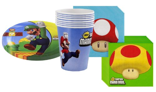 Super Mario Bros. Party Supplies Pack Including Plates, Cups and Napkins 8 Guests