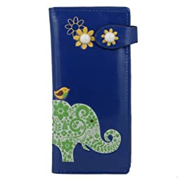 Shagwear Women\'s Large Wallet (Blue Paisley Elephant)