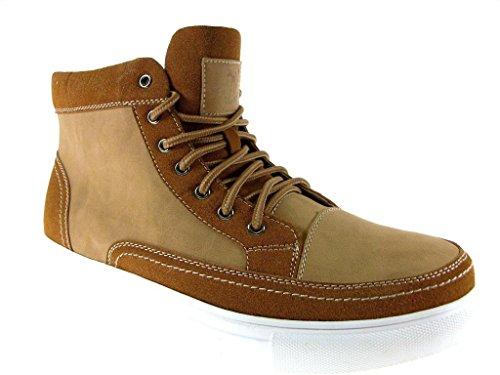 Polar Fox Men's 55010-Brown High Top Casual Sneakers, Brown, 13