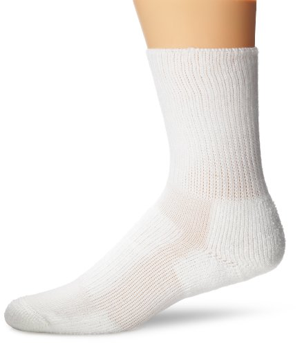 Thorlo Unisex Moderate Cushion Walking Crew Sock,White,Medium/6.5-10