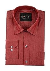 ROGUE URBAN WEAR Men's Formal Shirt (ROG2TONE10LTMARON_L, Red, Large)