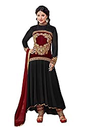 Vibes Womens Georgette Patch Work Anarkali Dress Material (V288-54010 _Black _Free Size)
