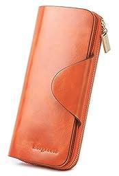 Borgasets Women\'s Wallet Trifold Ladies Luxury Leather Clutch Travel Purse with Zipper Pocket Orange