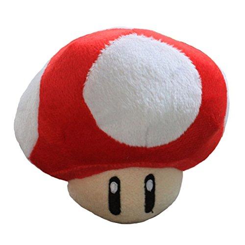 Super Mario Bros Plush Red Mushroom Doll Soft Stuffed Plush Toys Anime Collection Birthday Gifts 4.7 Inch/12cm (Super Mario Bros Mushroom)