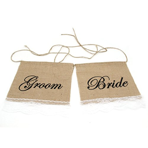 Junxia Bride & Groom Hessian Chair Banner Rustic Wedding Banner Burlap Signs