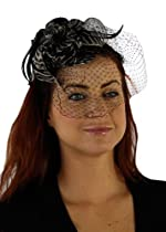 Charisma Sinamay Fascinator Cocktail Hat with Headband and Netting (Zebra Print)