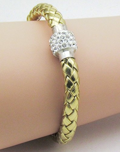 Babycat collection Unisex Shamballa Strasssteinchen Lederarmband mit Magnetverschluss Gold