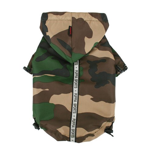 Puppia Authentic Base Jumper Raincoat, Small, Camo