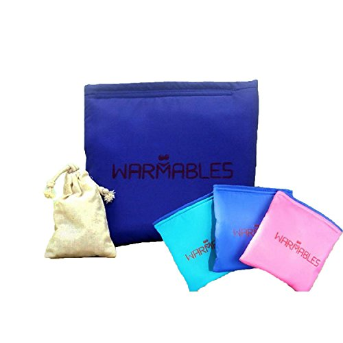 Warmables Cherry-Pit Kid's Lunch Kit - Keep Food Warm for 4-6 Hours! Heat cherry pit bags & food container, pop into pouch & seal! (Smart Blue)