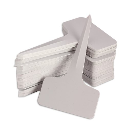 Vktech 100pcs 6 x10cm Plastic Plant T-type Tags Markers Nursery Garden Labels Gray (White) primary