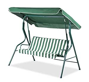 Alium 3 Seater Swing Seat with Straight Canopy - Green and White Striped