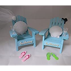 Wedding Reception Adirondack Chairs flip flops Beach Seashell Cake Topper