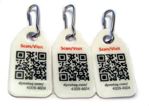Dynotag® Web/Gps Enabled Qr Code Smart Micro Zipper Tags - 3 Identical+Snaphooks