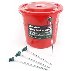 Bucket Packed Steel Spike Tent Stakes, 10 in., 100 Units