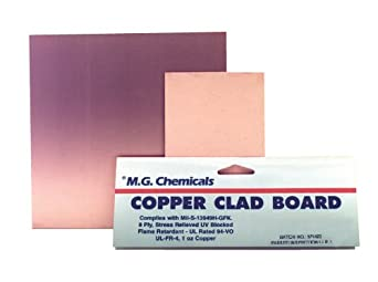 """MG Chemicals 500 Series Copper Clad Prototyping Board with 1/2 oz Copper, 1/16"""" Copper Thick, 2 Side, 6"""" Length x 6"""" Width, FR4"""