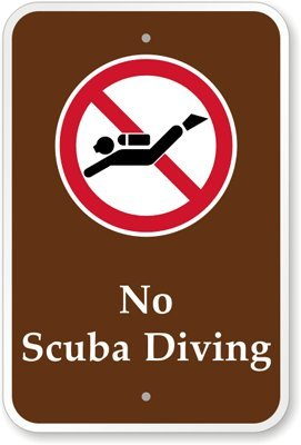 """No Scuba Diving (With Graphic) Sign, 18"""" X 12"""" front-906613"""