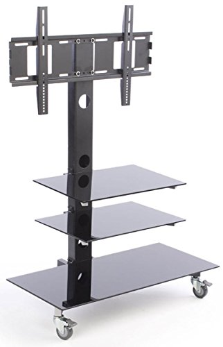 Glass TV Stand with Mount for up to a 60-inch Monitor, 3 Display Shelves, Wheels Included - Black (Upright Tv Stand compare prices)