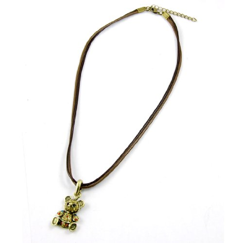 Rosallini Gold Tone Bear Shaped Pendant Rhinestone Decor Necklace