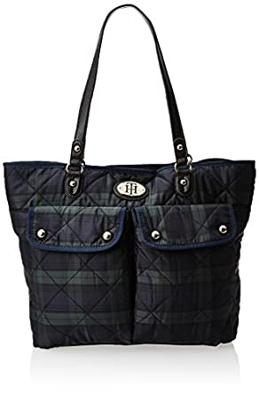 Tommy Hilfiger College Club Plaid Travel Tote,Navy,One Size