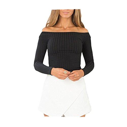 Fortan Le donne senza maniche bicchierino di modo top stretto maglione di lavoro a maglia senza spalline Casual T-shirt (small, Nero)