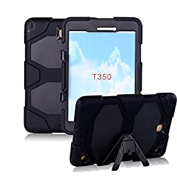 Galaxy Tab A 8.0 Case, GreenElec Hybrid Heavy Duty Hard Armor Full-body Protective Case With Dust-proof Shockproof Kickstand Feature for Samsung Galaxy Tab A 8.0 SM-T350 (BLACK)