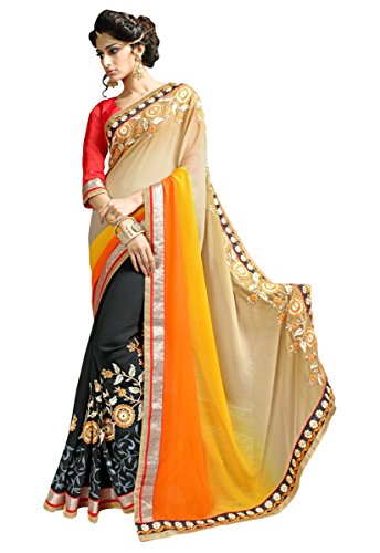 Manvaa Half & Half Dual Shaded Self Jacquard Saree  available at amazon for Rs.860