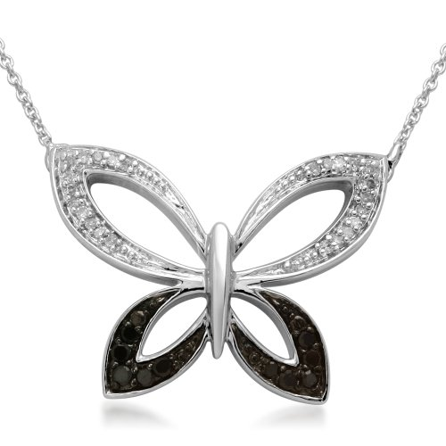 Sterling Silver Black and White Diamond Butterfly Pendant Necklace (1/6 cttw, I-J Color, I3 Clarity), 18