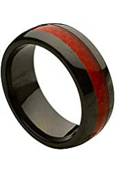 Ceramic Ring with Red Carbon Fiber Inlay 8mm