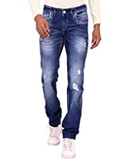 Kavis Mid Waist Dark Blue Colored Slim Fit Men's Jeans - B016WG2WVU