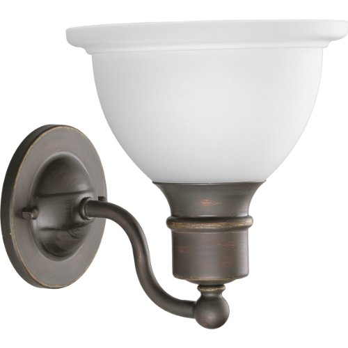 Progress Lighting P3161-20 1-Light Wall Bracket With White Etched Glass, Antique Bronze front-1063928