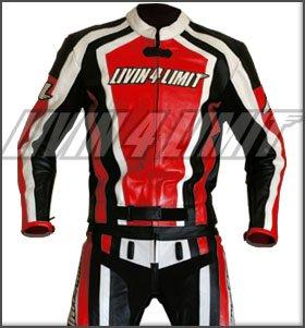 combinaison moto >>Laguna Seca<< original 4LIMIT Sports, deux pièces en cuir rouge-noir-blanc