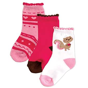 Luvable Friends 3-Pack Fashion Socks for Baby, Pink, 6-18 months