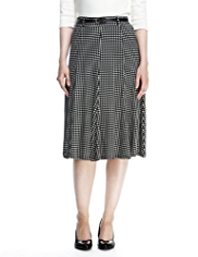 M&S Collection Linear Spotted Long Flippy Skirt with Belt