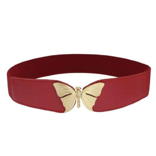 Butterfly Shape Metal Interlocking Buckle Waist Belt Waistband Red