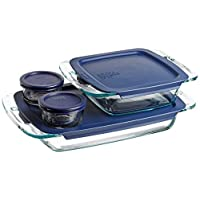 Pyrex Easy Grab 8 piece Bake and Store set includes 1-ea 3 quart oblong,8 inch square, 2-ea 1 cup round storage dishes with blue plastic covers