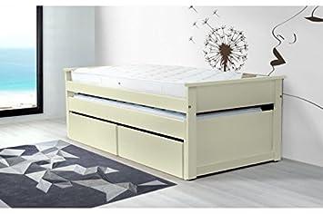 ABC MEUBLES - Lit Gigogne Maxi 90 x 200cm + tiroirs - TIRTOP - Ivoire, 90x200