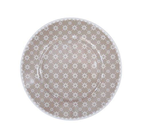 Krasilnikoff Assiette à gâteau Taupe avec Fleurs Blanches Diagonal